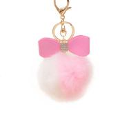 Gloryhonor Faux Rabbit Fur Ball Pom Pom Bowknot Charm Car Keychain Handbag Phone Key Ring