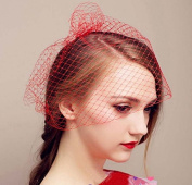 ZHJZ Women Wedding Bridal Red Veil