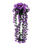andensoner Creative DIY Bouquet Leafy Violet Artificial Silk Flowers for Wedding Home Wall Hanging Decor