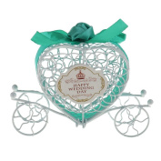 Cdet 1X Romatic Pumpkin Carriage Heart Candy Case Gift Box for Wedding Art Craft Favour Blue