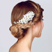 Handmade Women Wedding Hair Band Comb Pins Pearl Rhinestone Flower Bridal Comb Hair Accessories, Silver