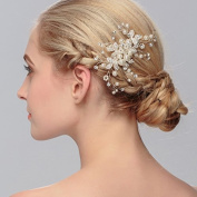 Handmade Women Wedding Hair Comb Pearl Rhinestone Flower Bridal Comb Hair Accessories, Silver