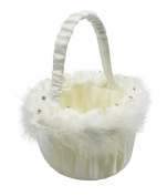 Girls, Wedding Ceremony, Christening, Flower Basket, Roses, Faux Fur Decoration, White Satin