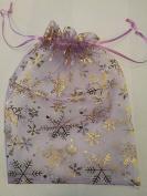 25 ORGANZA WEDDING PARTY favour BAGS CHRISTMAS SNOWFLAKES PATTERN 17 CM X 23 CM LAVENDER
