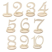 Faylapa 10 pcs 1-10 Wooden Table Numbers with Holder for Wedding Birthday Party Hotel Decoration