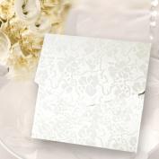 Pocketfold Invitations Wedding Wallets DIY Crystal White Vintage Broderie Square Pocketfolds With Envelopes & Inserts Inc x 10