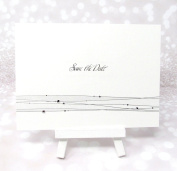 10 White Save the Date Wedding Cards Postcards With Diamantes & Silver Strands Pre-printed Inc Envelopes Inc