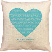 Ed Sheeran THINKING OUT LOUD song words/ lyrics CUSHION - ideal Cotton 2nd Anniversary Gift - with your own PERSONALISATION