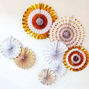 Welim Paper Fans Folding Paper Fans Round Wheel Fans Colourful Paper Fans Hanging Paper Fans for party or wedding decoration 8pcs rabdom colour