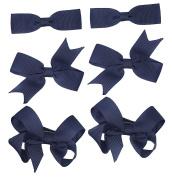 6 Clips (3 Pairs) Navy School Bows Girls Small Hair Grosgrain Ribbon Hair Accessories Uniform