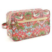 Ladies 100% Cotton Canvas (Wipe Clean) LARGE Washbag Wash Bag William Morris Strawberry Birds RED