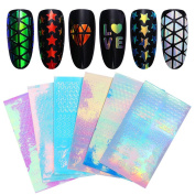 Born Pretty 6Sheets Nail Art Hollow Sticker Holographic AB Colour 3D Star Triangle Adhesive Manicure Transfer Decals