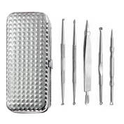 Blackhead Remover Tool, Breett 5pc Acne Remover Whitehead Comedones Removal Kit with Cosmetic Mirror