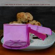 DIKEWANG Newest 350ML Plastic Sieve Cup Screen Mesh Powder Baking Flour Sifter Colander Sieve Hand Crank for Baking Bread,Cake