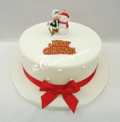 Retro Christmas Ornament Cake Decorations Toppers Child & Snowman & Red Ribbon Set