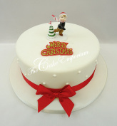 Retro Christmas Ornament Cake Decorations Toppers Ice Skating & Red Ribbon Set