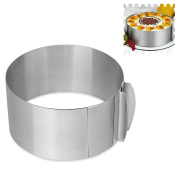 GuDoQi Stainless Steel Cake Ring Mould Adjustable Mousse Tiramusu Cake Mould