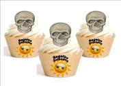 12 x – Human Skull Halloween Mix Cartoon Decoration Printed in Paper Edible personalizacion Pizza Frame Happy Birthday