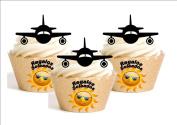 12 x Landing Aircraft Airport Decoration Edible personalizacion Pizza Frame Feliz Cumpleanos