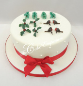 Christmas Cake Holly Leaf Christmas Tree Robin Motto Yule Toppers Decorations