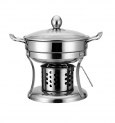 Thicken Stainless Steel Alcohol Stove Small Pot Outdoor Outdoor Dormitory Alcohol Pot,White-19cm