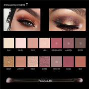 FOCALLURE 14 Colours Eyeshadow Palette Matte Glitter Shimmer Tropical Vacation Eyeshadow Palette with Brush Style 1