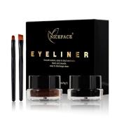 Eyeliner Gel, Sweetds Two-colour Waterproof Eyeliner Plaste Makeup Eyeliner Gel Eyeliner Adhesive With Brush
