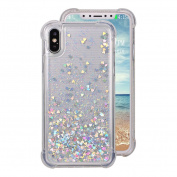 iPhone X Gel Case, iPhone X Back Cover Case, Rosa Schleife Bling Glitter Flowing Liquid Quicksand Transparent Clear Soft TPU Gel Cover Phone Case Protective Shell Skin Cases Covers for iPhone X/10