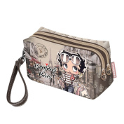 BETTY BOOP Streets - Vanity Case with two Zippers and Handle- Brown