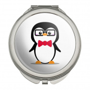 Cartoon Penguin with Bow Tie and Glasses Compact Travel Purse Handbag Makeup Mirror