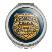Grammar Police Badge Funny Compact Travel Purse Handbag Makeup Mirror