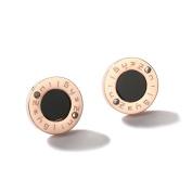 Plated 18k Rose Gold Titanium Steel Stud Earrings, Women Black Circle Earrings