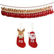 Yorbay Fabric Advent Calendar Christmas Countdown Sock