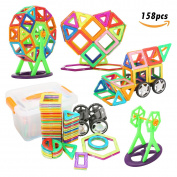 FUNTOK Magnetic Blocks Set 158PCS Magnetic Building Blocks Toy Construction Blocks Stacking Game DIY Educational Toys Gift for Kids