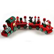 Christmas Train, Yilianda 4 Sections Wood Xmas Train Toy Christmas Ornament Decoration Kids Gift