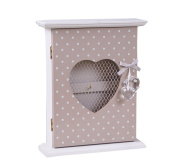 Shabby Chic Spotted Wooden KEY Box Holder Cupboard Wall Mounted