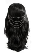 Womens Ladies Silver Tone Metal 5 Strand Diamante Hair Chain / Ponytail Chain - Silver