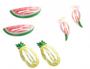 Qingsun 3 Pairs (6 pieces) Hair Clips Cute Baby Girls Hair clip All-Match Metal fruit animal(pineapple/watermelon/Flamingo)