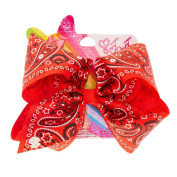 Claire's Girl's JoJo Siwa Large Bandana Print Hair Bow in Red.