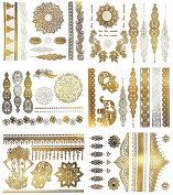 Premium Metallic Henna Tattoos - 75+ Mandala Boho Designs in Gold and Silver - Temporary Fake Shimmer Jewellery Tattoo - Flowers, Elephants, Bracelets, Wrist and Arm Bands