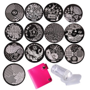Biutee 13pcs new designs nail stamping plates nail art stamp template manicure stainless steel nail tools...