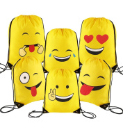 CCINEE 6 Packs Emoji Cartoon Drawstring Backpack Bags for Kids Girls and Boys Gift Treat Goody Birthday Favours