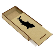 'Shark Silhouette' Wooden Pencil Case / Slide Top Box