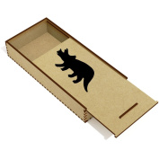 'Triceratops Silhouette' Wooden Pencil Case / Slide Top Box