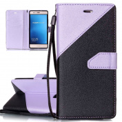 Huawei P9 Lite Case, Huawei P9 Lite Flip Cover, ISAKEN Frosted Splicing PU Leather Case Magnetic Folder Card Holders Money Pouch, Retro PU Leather Wallet Credit Card Slot Case Bookstyle Purse Protective Stand Function Cover with Strap, Black+ light purple