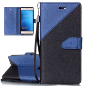 Huawei P9 Lite Case, Huawei P9 Lite Flip Cover, ISAKEN Frosted Splicing PU Leather Case Magnetic Folder Card Holders Money Pouch, Retro PU Leather Wallet Credit Card Slot Case Bookstyle Purse Protective Stand Function Cover with Strap, Black+ blue