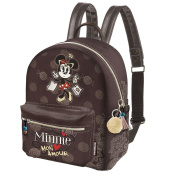 DISNEY MINNIE MON AMOUR - Backpack for School and Leisure - With Adjustable Shoulder Straps and Handle - Colour Brown