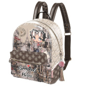 BETTY BOOP STREETS - Backpack for School and Leisure - With Adjustable Shoulder Straps and Handle - Colour Brown