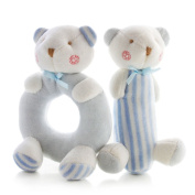 NEEDOON Baby Kids Soft Stuffed Rattle Toys Christmas Gift Cute Animal Plush Toys,Blue