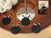 Chalkboard Wine Charm Favours With Black And White Beads